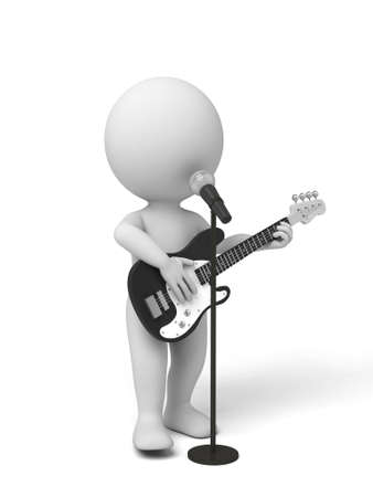 voices: Guitarist on stage using a microphone. 3d image. Isolated white background. Stock Photo