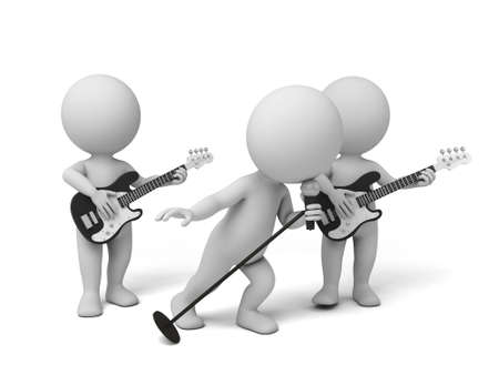 pop musician: Guitarist and singer on stage. 3d image. Isolated white background. Stock Photo
