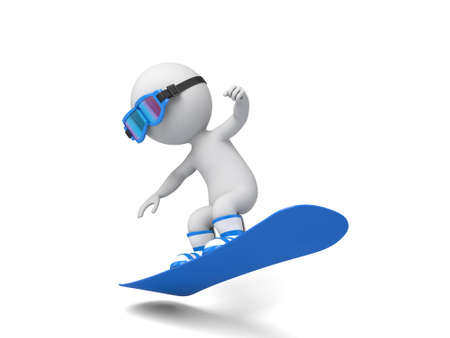 boarder: 3d people on a snowboard. 3d image. Isolated white background.