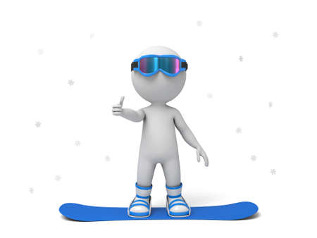 3d people on a snowboard. 3d image. Isolated white background. Stock Photo - 35968278