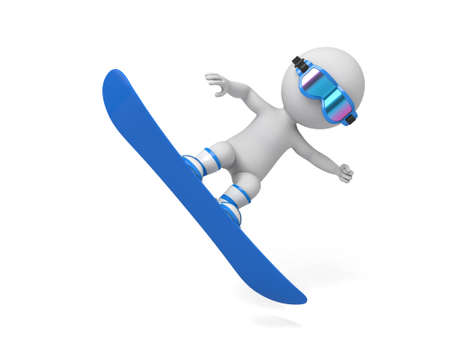 3d people on a snowboard flying. 3d image. Isolated white background.