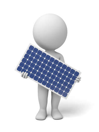 energy grid: 3d white people with a solar panel. 3d image. Isolated white background. Stock Photo