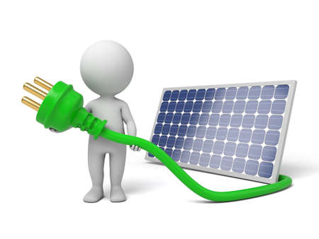 3d white people with solar panel. 3d image. Isolated white background.