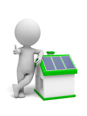 3d white people with solar panel house. 3d image. Isolated white background. Stock fotó