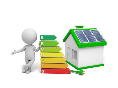 electric grid: 3d white people with solar panel house. 3d image. Isolated white background. Stock Photo