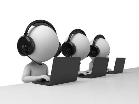 support center: 3d people with headphone and working on laptop. 3d image. Isolated white background.