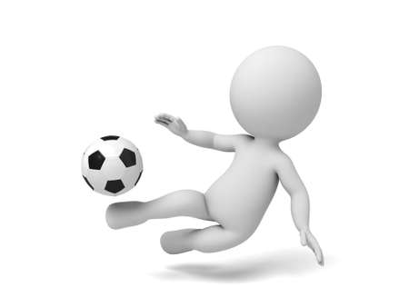 3d people playing soccer. 3d image. Isolated white background
