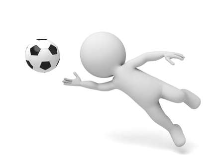3d  goalkeeper. 3d image. Isolated white background