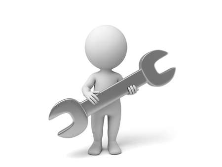 3d people with a wrench. 3d image. Isolated white background.