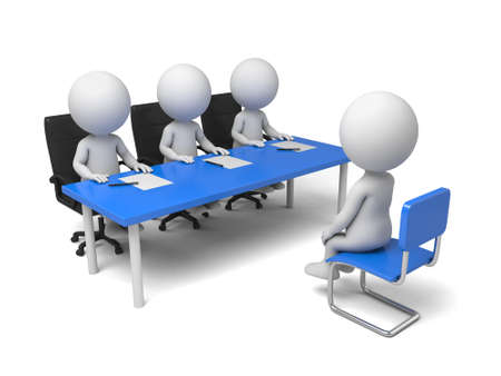 A 3d personas tienen una entrevista. Imagen en 3D. Fondo blanco aislado Foto de archivo