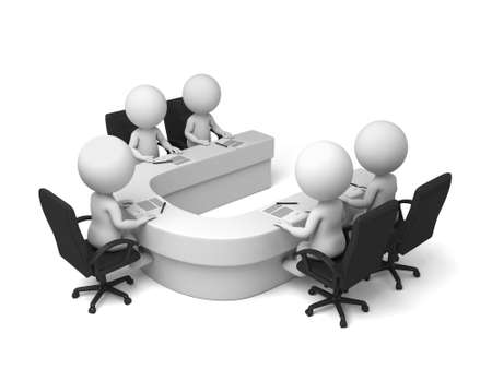 briefing: 3d people have a meeting. 3d image. Isolated white background