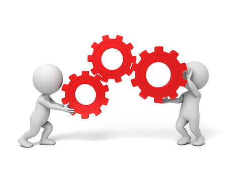 two 3d people holding gears in hands. 3d image. Isolated white background Stockfoto
