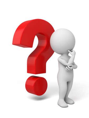 3d kleine persoon denken met een groot vraagteken. 3d beeld. Geïsoleerde witte achtergrond Stockfoto
