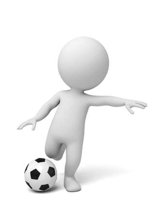 dexterity: 3d people playing soccer. 3d image. Isolated white background