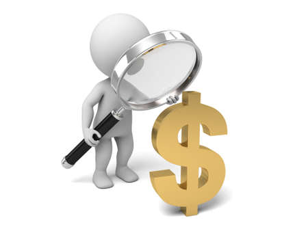 3d people with a magnifying glass and the dollar symbol . 3d image. Isolated white background photo