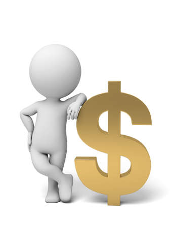 solvency: A small person with a dollar currency symbol. 3d image. Isolated white background