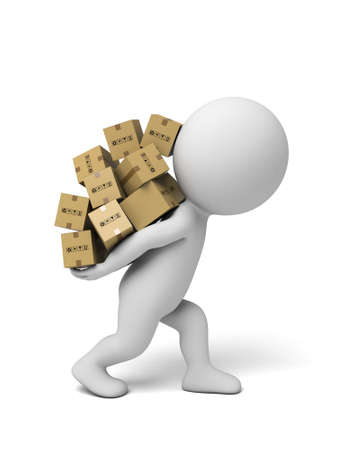 paper delivery person: 3d small people carrying cardboard boxes.