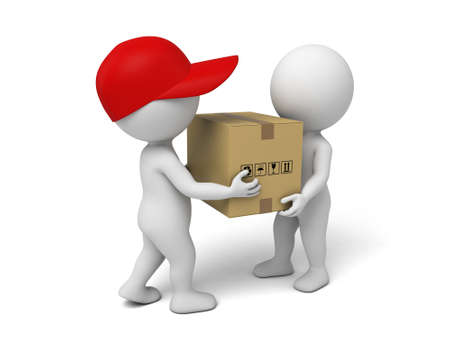 3d small people deliver a parcel to customer.  photo