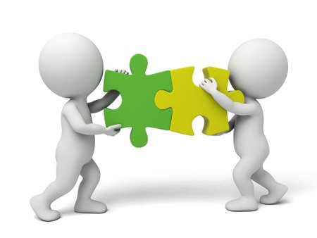 3d  people  assemble two  piece of puzzles. 3d image. Isolated white background 스톡 콘텐츠