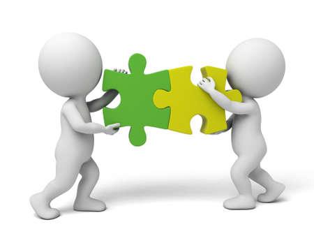 3d mensen assembleren twee stuk van puzzels. 3d beeld. Geïsoleerde witte achtergrond Stockfoto - 35967536