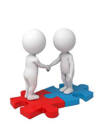 partners: 3d people shaking hands on puzzle pieces. The concept of business partners. Stock Photo