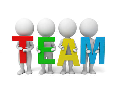 3d people holding   word - team.   Stock Photo