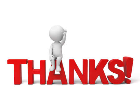 thanks you: 3d people sitting on a word - thanks. 3d image. Isolated white background.