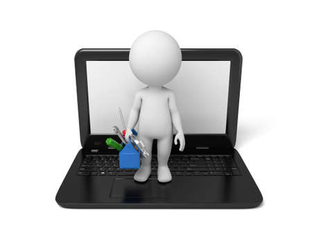 configure: 3d people with a toolbox on laptop. 3d image. Isolated white background.