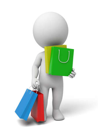 3d people carrying shopping bags. 3d image. Isolated white background. Reklamní fotografie
