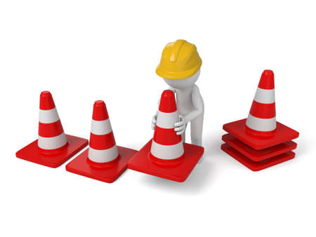 A 3d people with some barricades. Isolated on a white background