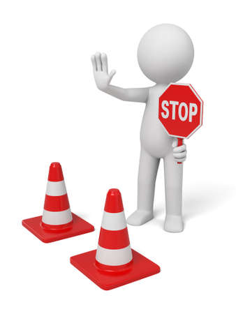 hazard sign: A 3d people with a stop sign. Isolated on a white background