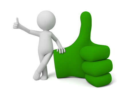 3d small people with a big green hand sign. 3d image. Isolated white background. 版權商用圖片