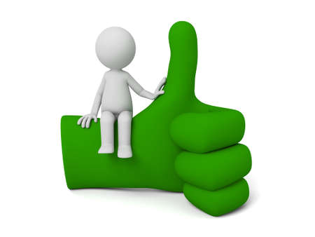 green hand: 3d small people sitting on a big green hand sign. 3d image. Isolated white background. Stock Photo