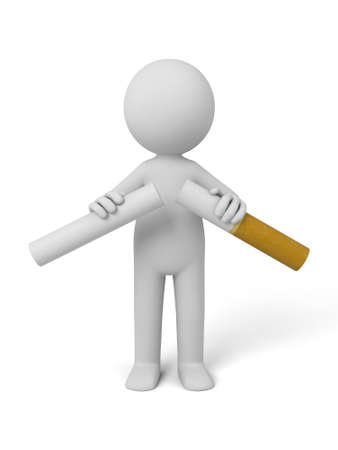 3d person breaking a cigarette. 3d image. Isolated white background.