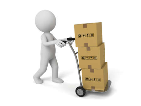 paper delivery person: 3d person carring some cardboard boxes. 3d image. Isolated white background.