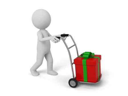 3d persona che porta un regalo. Immagine 3D. Isolato sfondo bianco. Archivio Fotografico - 36027595