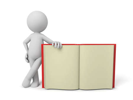 3d person with a big book. 3d image. Isolated white background. photo