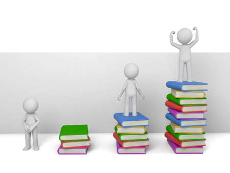 person standing: 3d person Standing on Stacks of Books Stock Photo