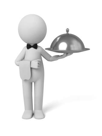 platter: A waiter with food platter. 3d image. Isolated white background. Stock Photo