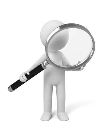 inspect: A 3d people with a magnifier. 3d image. Isolated white background.