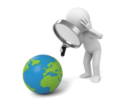 A 3d people searching a earth with a magnifier. 3d image. Isolated white background. Stockfoto