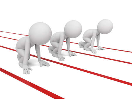 starting line: Three 3d small people on a starting line. 3d image. Isolated white background. Stock Photo