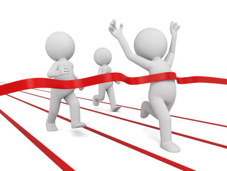 3d people crossing the finishing line. 3d image. Isolated white background. Banque d'images