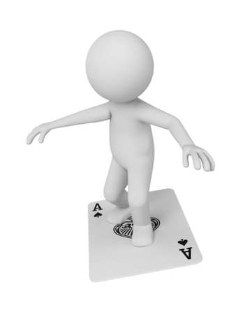 gambling counter: A 3d people standing on a card flying. 3d image. Isolated white background