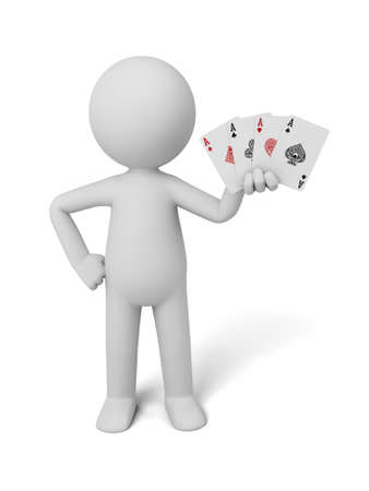 gambling counter: A 3d people hold four cards. 3d image. Isolated white background