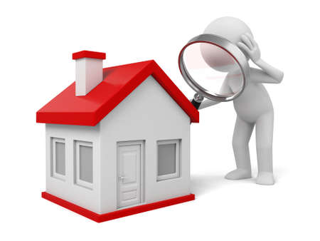 3d people with a magnifying glass and a house. Search new house Stockfoto