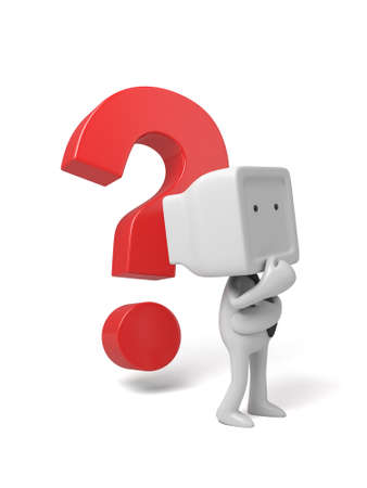 3d small person thinking with a large question mark. 3d image. Isolated white background photo