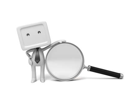 3d people with a magnifier. 3d image. Isolated white background photo