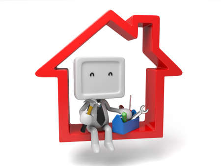 3d people sitting on a house with a toolbox. 3d image. Isolated white background photo