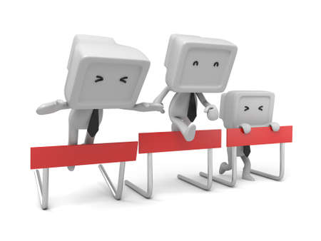 hurdles: 3d people crossing the hurdles. 3d image. Isolated white background. Stock Photo